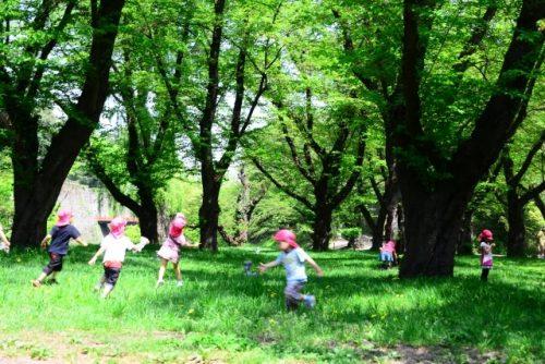 公園で走り回って遊んでいる子供たち