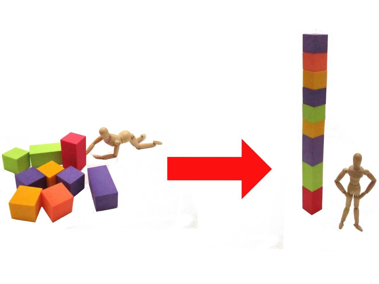 崩れたブロックを立て直した人