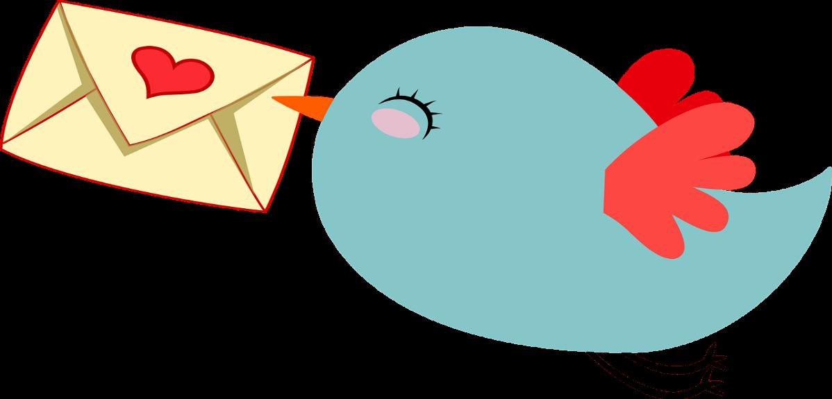 手紙を持って笑顔で飛んでいる鳥