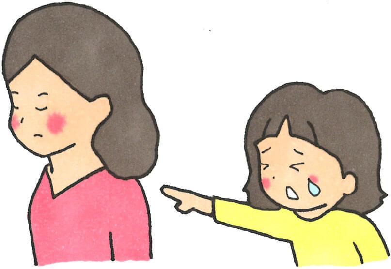 娘のわがままに付き合い切れずに無視している母親