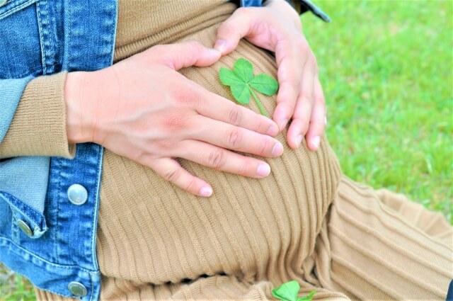 四葉のクローバーをお腹に載せて公園で座っている妊婦