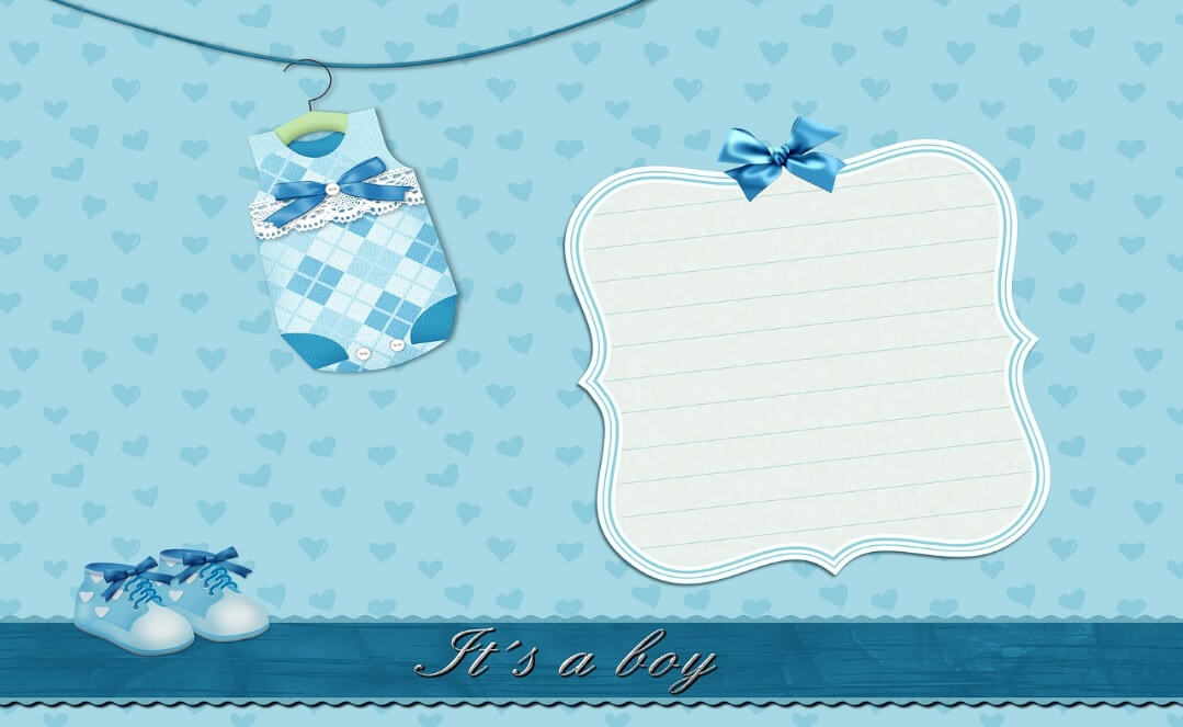 出産祝いの青いメッセージカード