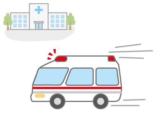 喉に食べ物が詰まった患者を助けに行く救急車