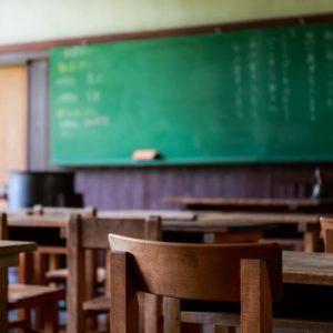 昔の学校の黒板。まだ緑のとき