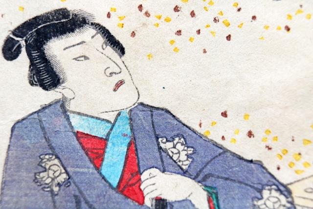 ちょんまげ頭の武士の浮世絵