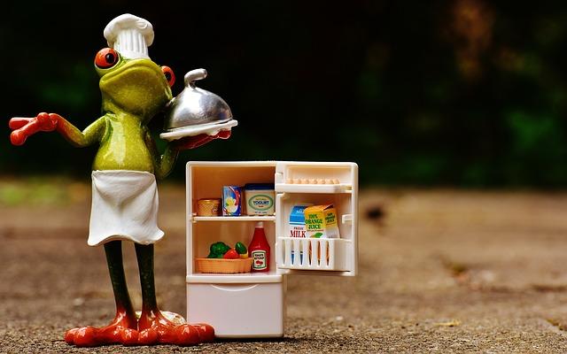 冷蔵庫を開いているカエルのクック