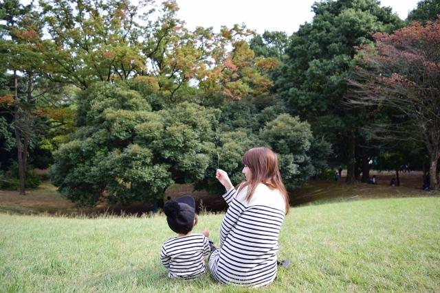 公園で遊ぶ親子